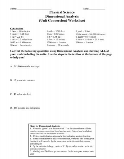 physical science dimensional analysis unit conversion worksheet. Black Bedroom Furniture Sets. Home Design Ideas