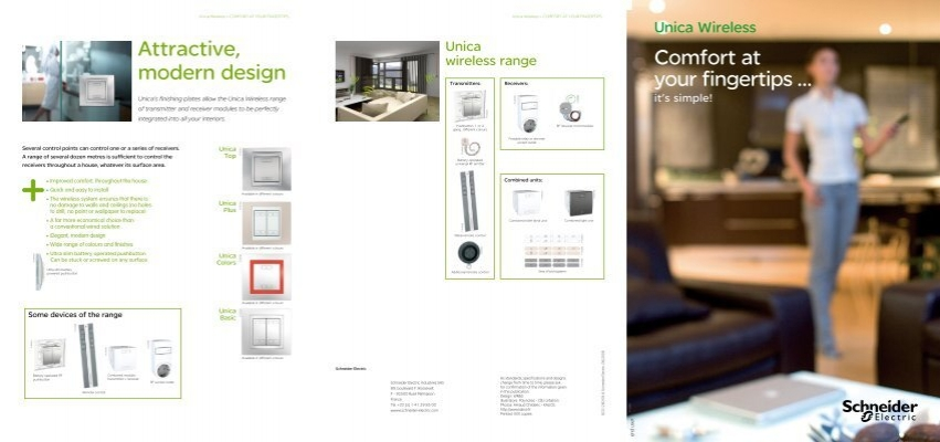 unica wireless brochure for end users schneider electric. Black Bedroom Furniture Sets. Home Design Ideas
