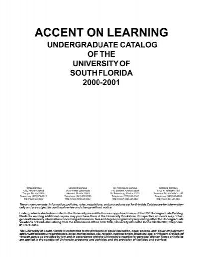 Usf Academic Calendar 2022.Accent On Learning Undergraduate Studies University Of South