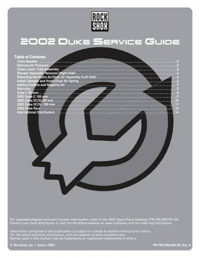 RockShox Duke Air Spring and Damper Service Kit
