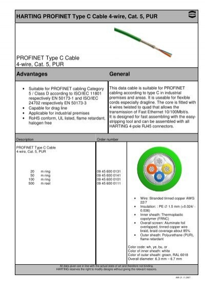 harting profinet type c cable 4 wire, cat 5, pur profinet RJ 45 Schematic harting profinet type c cable 4 wire, cat 5, pur profinet