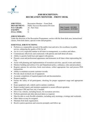 Job Description: Recreation Monitor âu20acu201c Front Desk   City Of Wylie