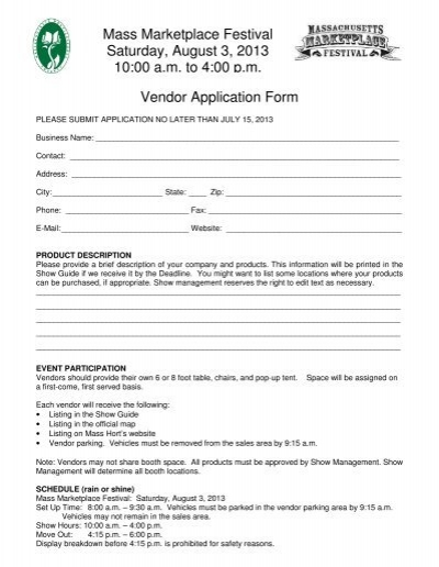 Vendor Application Form Mass Marketplace FestivalPdf