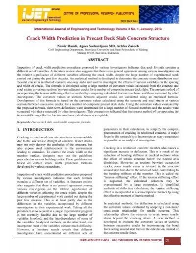 Crack Width Prediction in Precast Deck Slab Concrete Structure