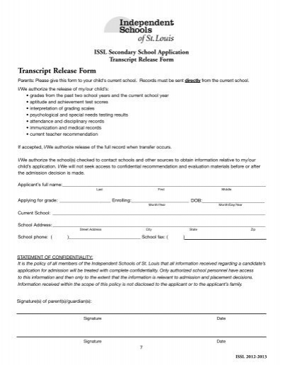 Authorization to release transcript Pastor Reference Principal or – Reference Release Form