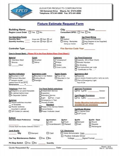 Estimate Request Form | Fixture Estimate Request Form Elevator Products Epco