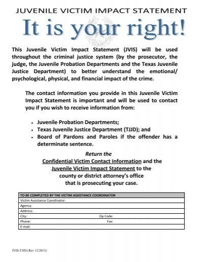 this juvenile victim impact statement texas department of