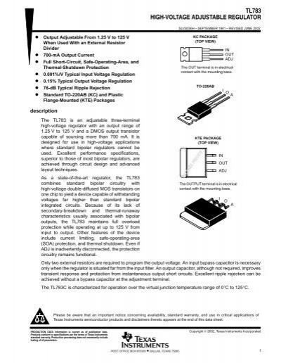 High Voltage Regulator : High voltage adjustable regulator rev h komponenten