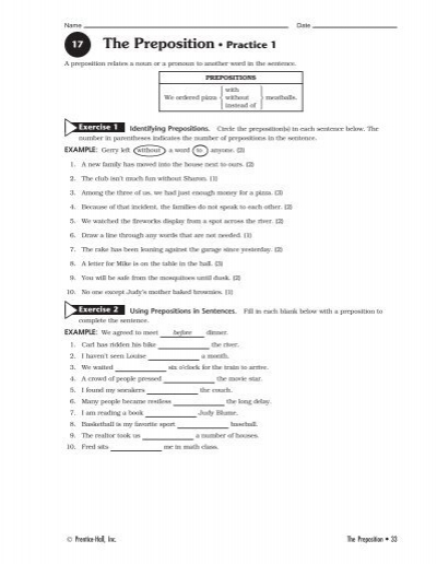 prentice hall grammar exercise workbook answers grade 6