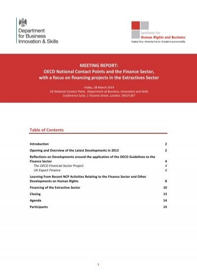 2014 06 10 Meeting Report Ncps And The Finance Sector
