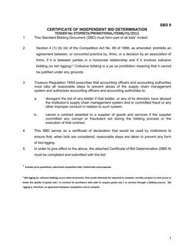 SBD 9 CERTIFICATE OF INDEPENDENT BID DETERMINATION