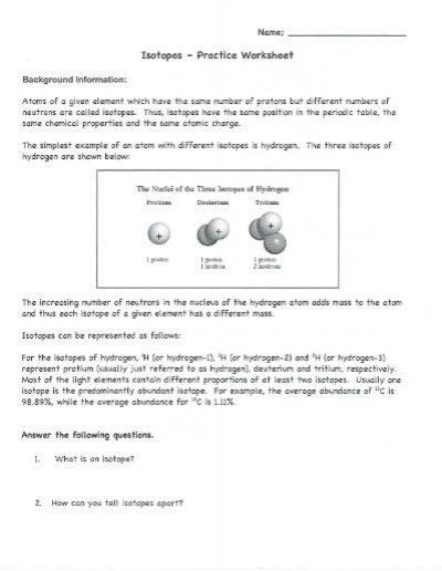 Isotopes - Practice Worksheet