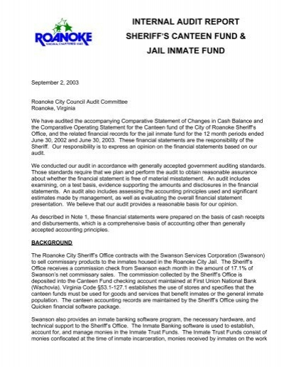 Internal Audit Report Sheriff=S Canteen Fund & Jail   - City Of