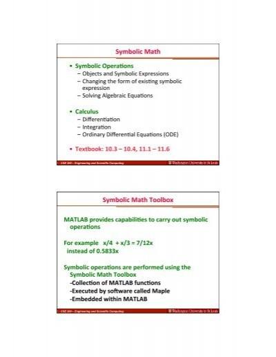 Symbolic Math Symbolic Math Toolbox