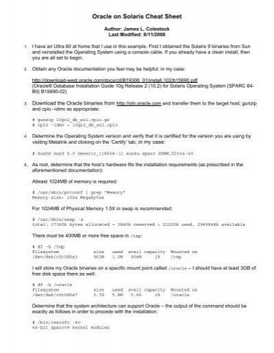 Oracle on Solaris Cheat Sheet - Colestock com