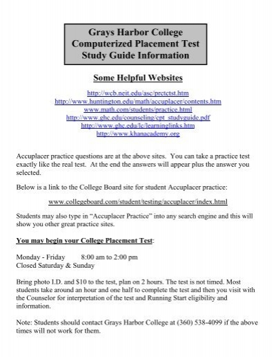 grays harbor college computerized placement test study guide