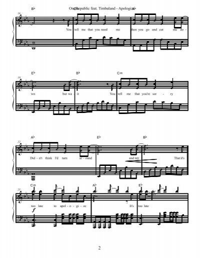 Apologize Daily Piano Sheets