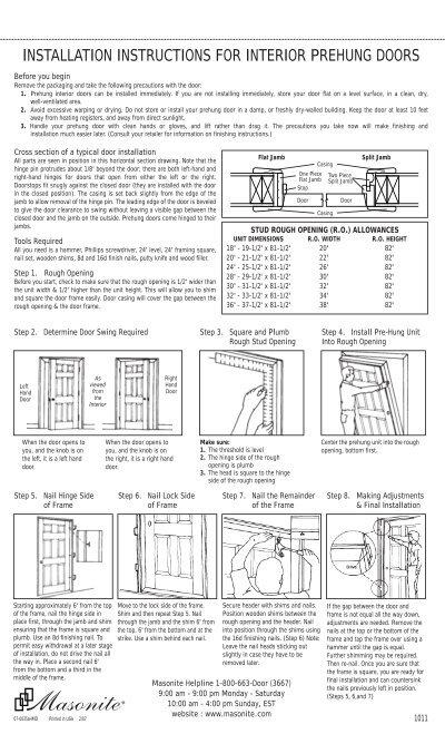 Installation instructions for interior prehung doors - Interior door installation instructions ...