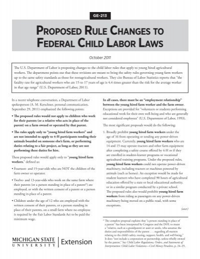 michigan minor working laws