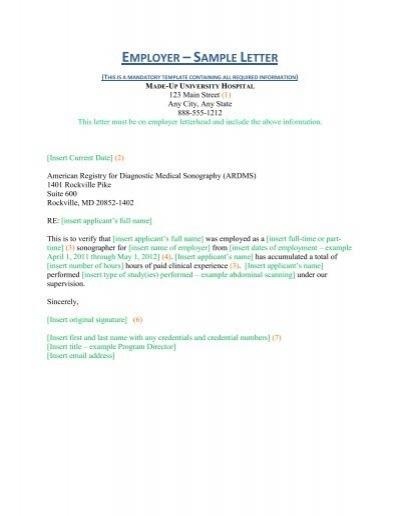 Employer sample letter ardms spiritdancerdesigns Gallery