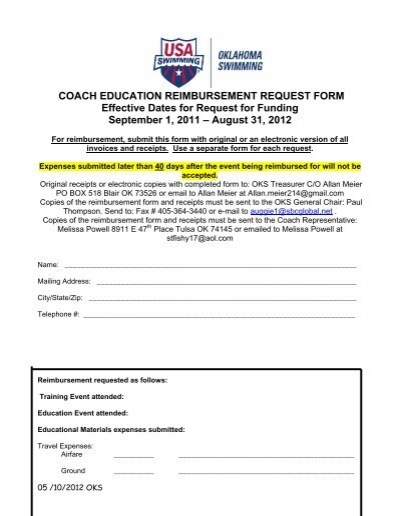 Coach Education Reimbursement Request Form Reimbursement Request