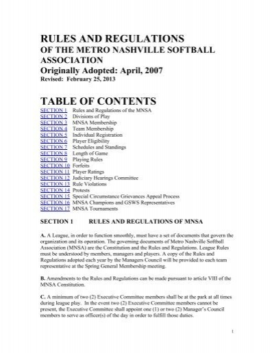 rules and regulations table of contents - HomeTeamsONLINE