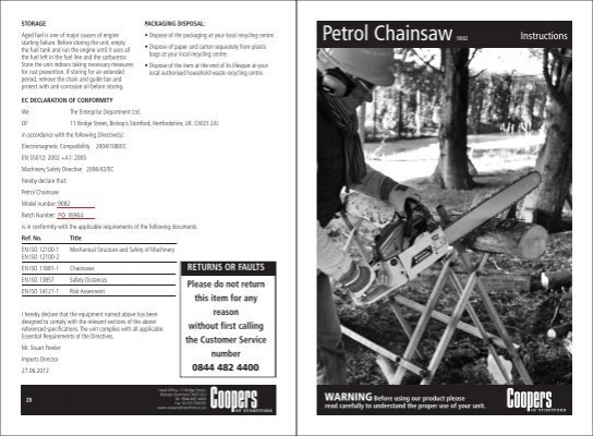 Download pdf instructions for victor garden tools chainsaw for Gardening tools list pdf