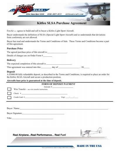 Purchase Agreement Kitfox Aircraft