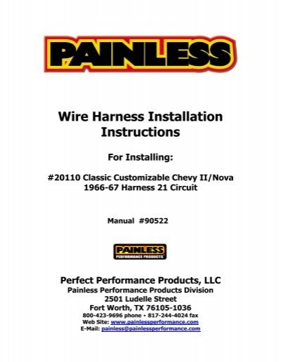 wire harness installation instructions painless wiring rh yumpu com Painless Performance Car Parts Painless Performance Promotional Items