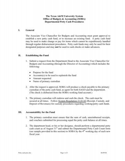 Petty Cash Fund Procedure  The Texas AM University System