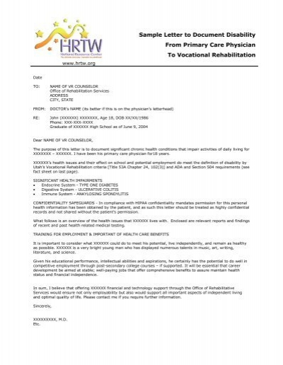 sample letter to document disability from primary care ctgov