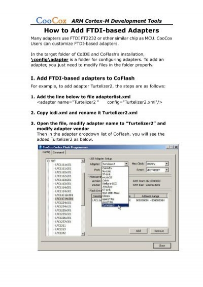 How to Add FTDI-based Adapters pdf - CooCox