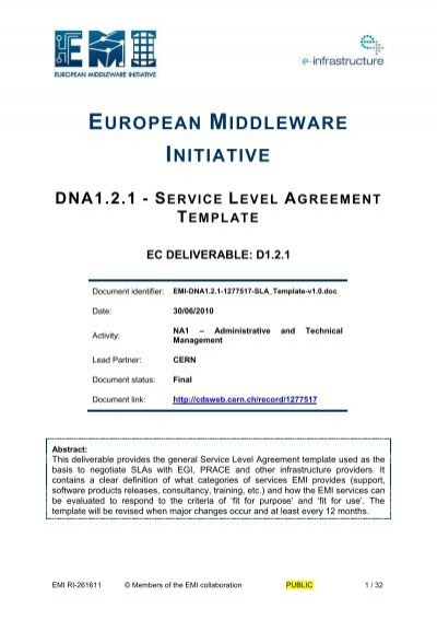 Dna1 2 1 Service Level Agreement Template Cern Document