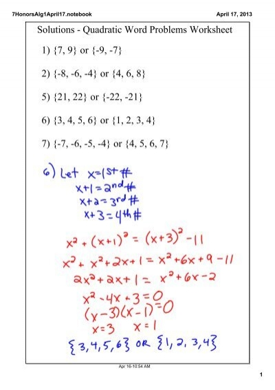 Solutions Quadratic Word Problems Worksheet 1 7 9 Or 9 7 2