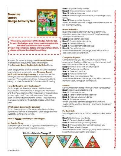 Brownie Quest Badge Activity Set