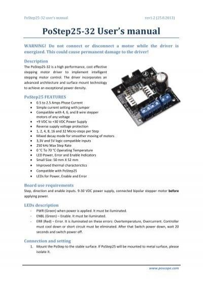 PoStep25-32 User's manual - CNC4PC