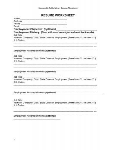 Resume Worksheet Mooresville Public Library