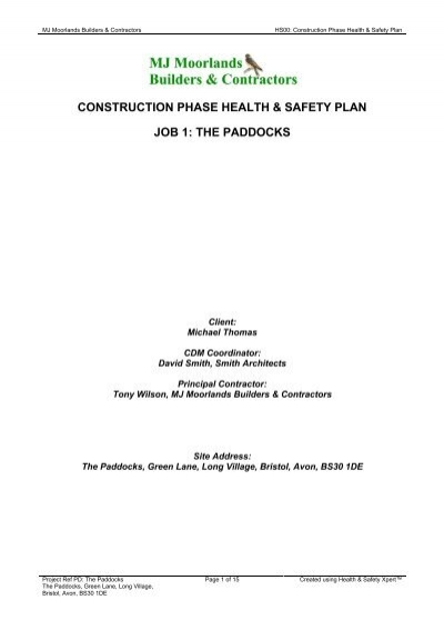 Construction Phase Fire Site Safety Plan Template Health and – Job Site Safety Plan