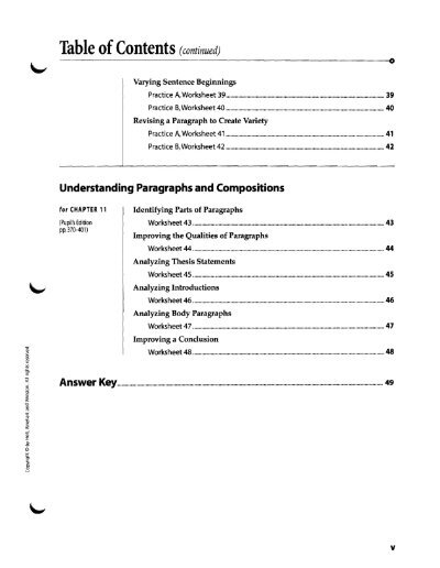 Table Of Contents Contin