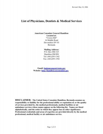 List of physicians medical services consulate general for List of consuls