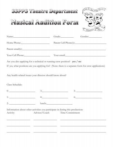 Musical Audition Form - Theatre