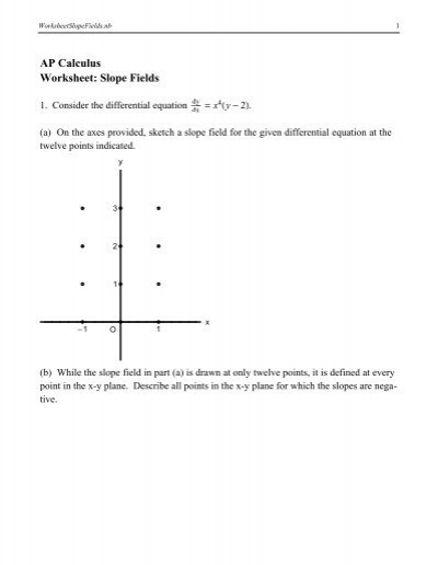ap calculus worksheet slope fields. Black Bedroom Furniture Sets. Home Design Ideas