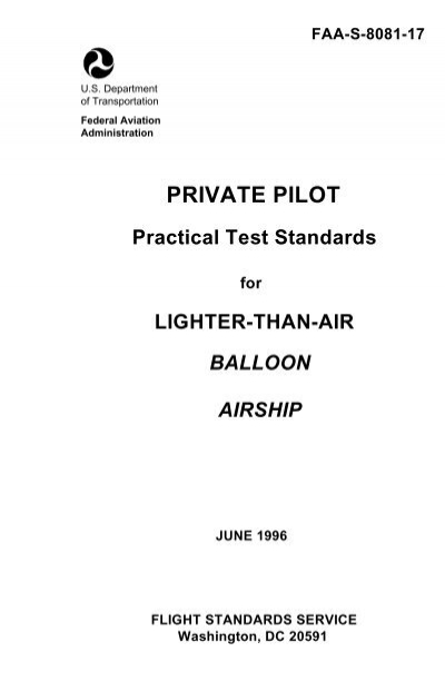 Private pilot practical test standards for lighter than air faa fandeluxe Gallery