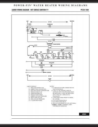 Power-fin  U00c2 U00ae Water Heater Wiring Diagrams