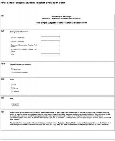 Final Single Subject Student Teacher Evaluation Form  Sites