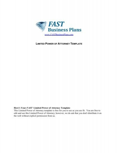 limited power of attorney template fast business plans