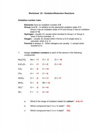 Worksheet 25 Oxidationreduction Reactions Oxidation Number