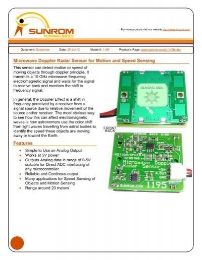 Microwave Doppler Radar Sensor for Motion and Speed Sensing