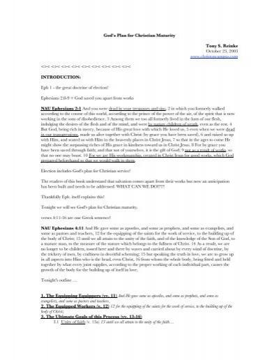 Gods Plan For Christian Maturity Tony S Reinke October 23 2003