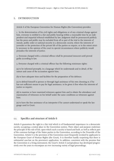interights article 6 manual Prohibition of torture, inhuman or degrading treatment or punishment under the european convention on human rights (article 3) interights manual for lawyers.